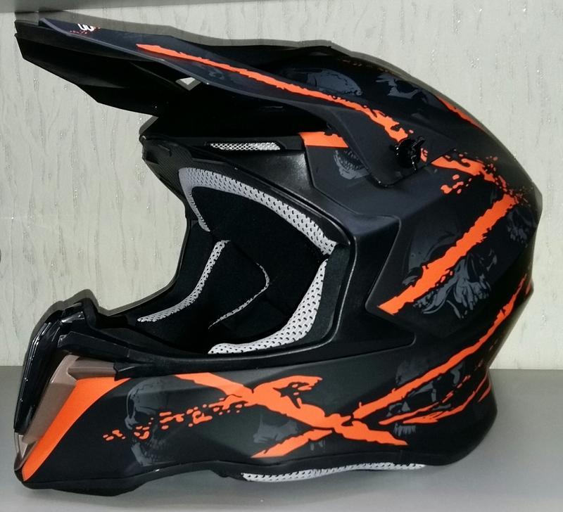 Шлем кроссовый Exdrive OFF ROAD EX-806 черно/оранжевый