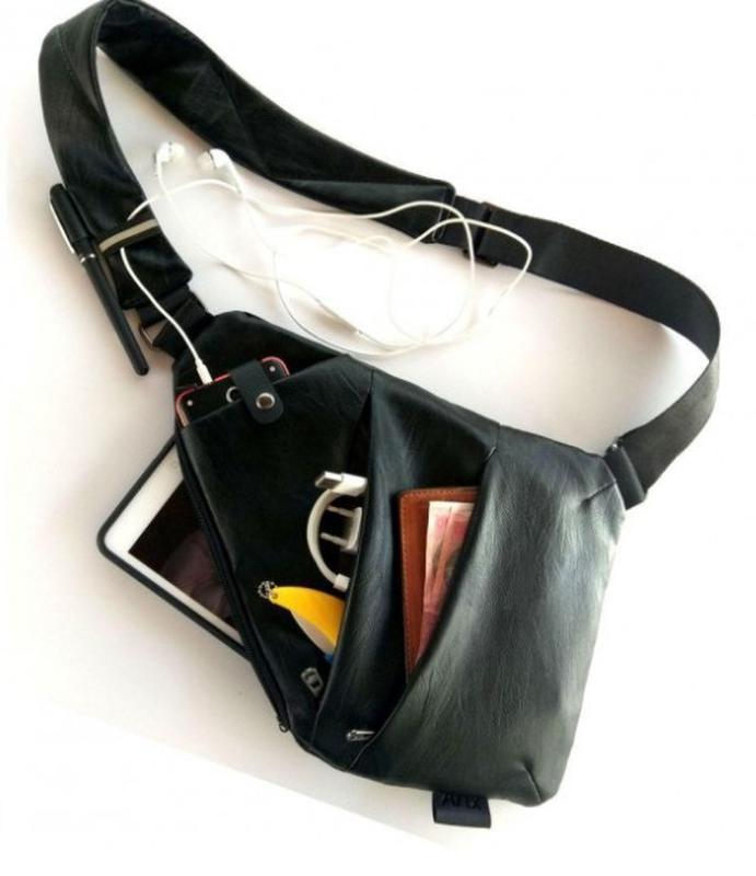 Мужская стильна сумка кобура на плечо cross body. практичный и... - Фото 6