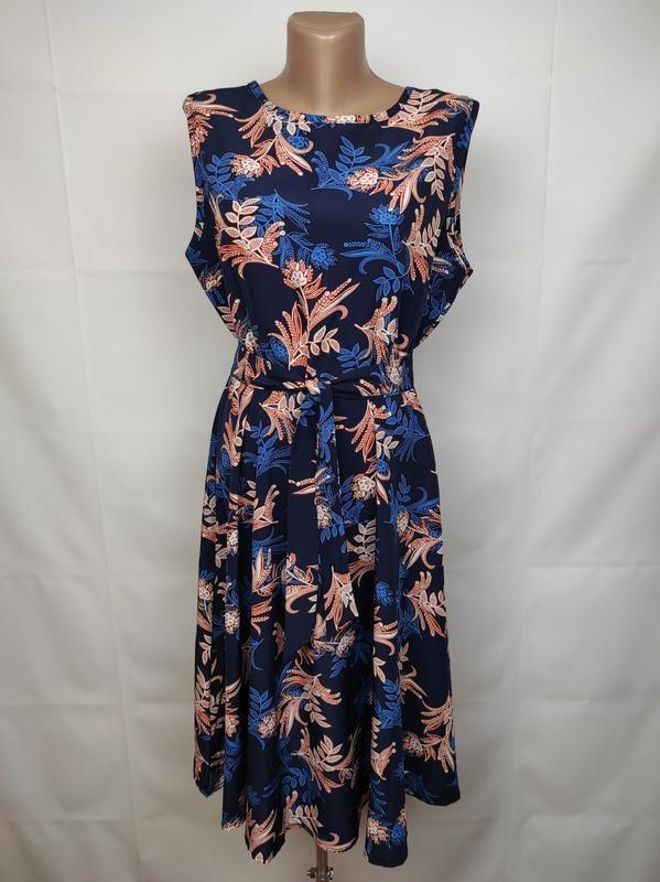 Платье стильное приталенное в цветы под пояс uk 14/42/l