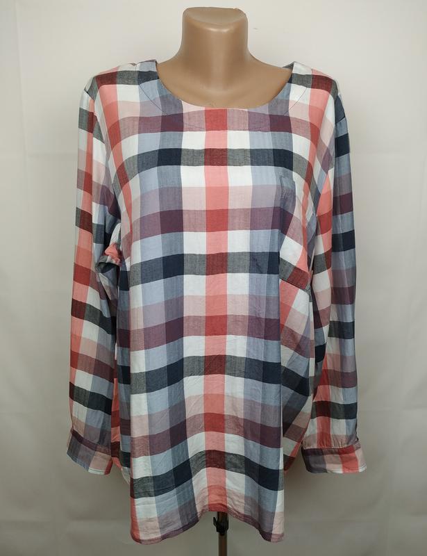 Блуза рубашка модная оригинальная в клетку большого размера ge...