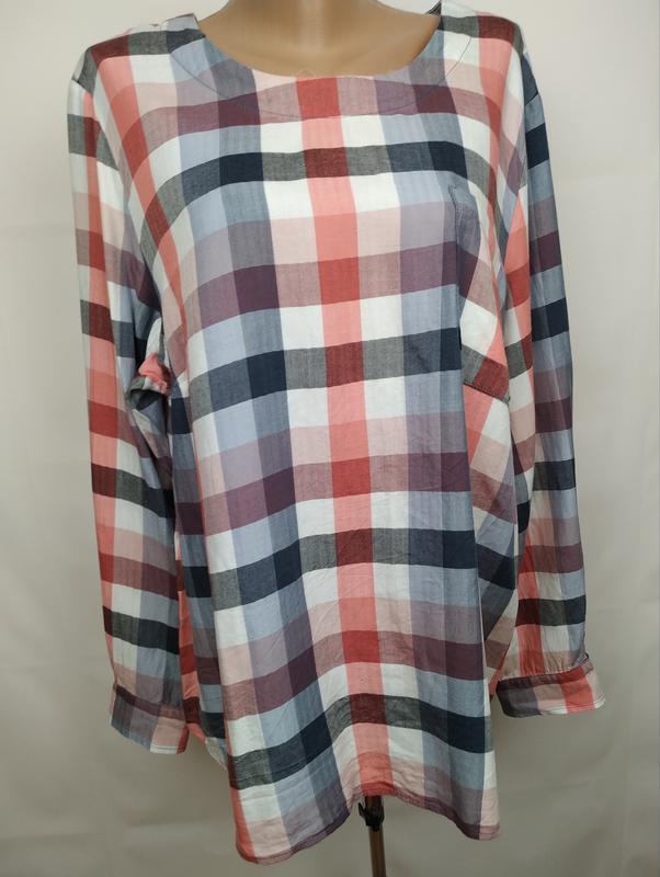 Блуза рубашка модная оригинальная в клетку большого размера ge... - Фото 2