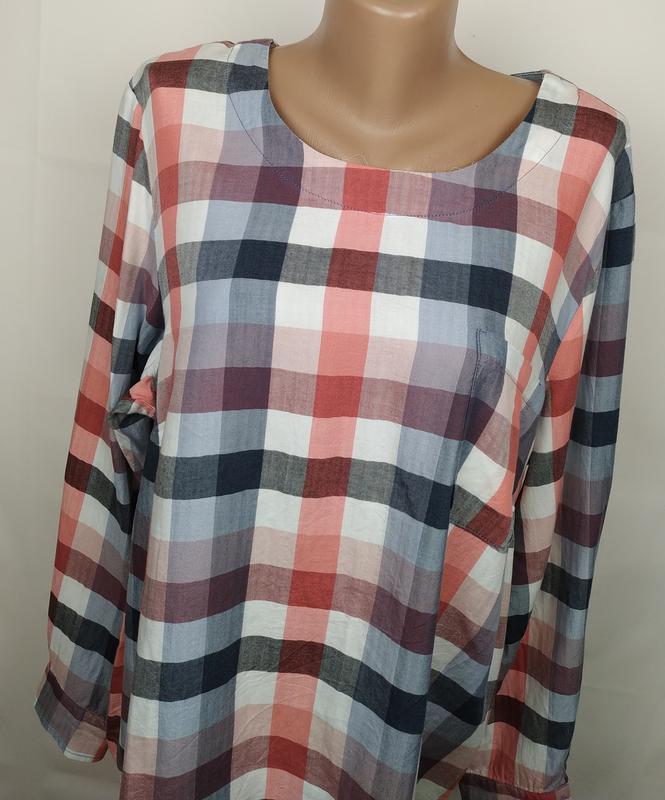 Блуза рубашка модная оригинальная в клетку большого размера ge... - Фото 3