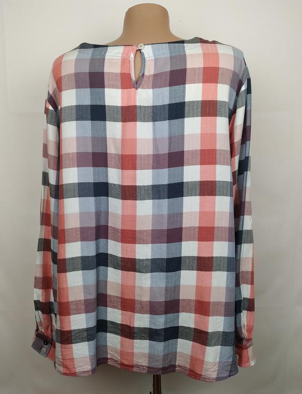 Блуза рубашка модная оригинальная в клетку большого размера ge... - Фото 4