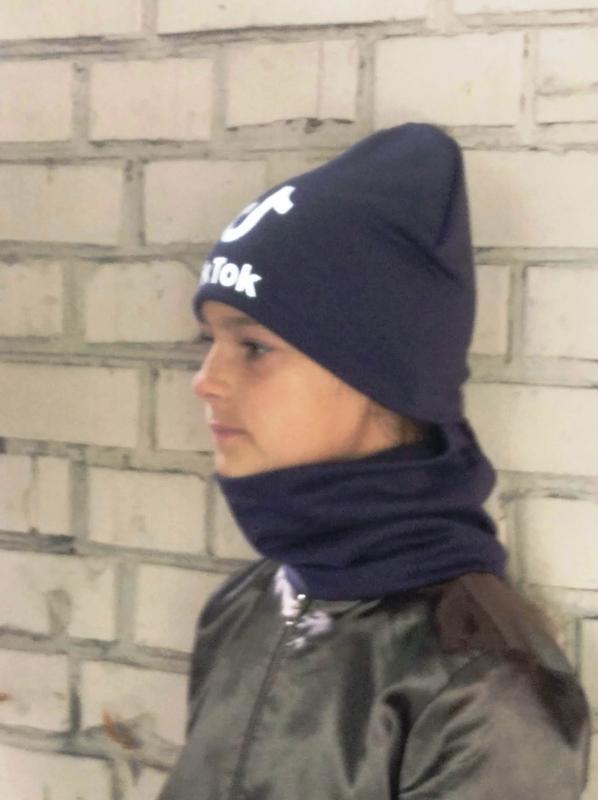 Комплект шапка и хомут, темно синий цвет, утепленный, принт св... - Фото 6