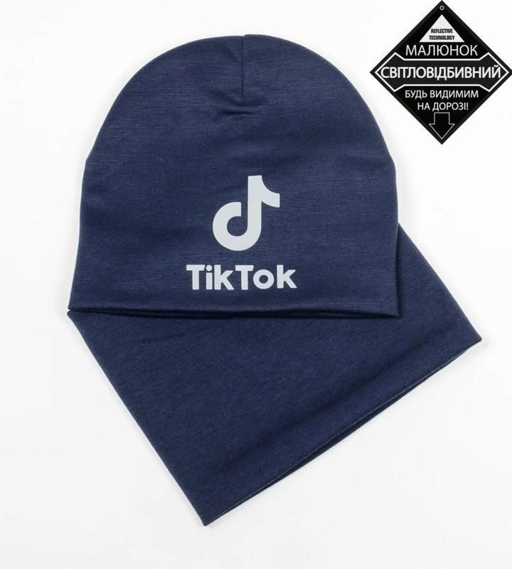 Комплект шапка и хомут, темно синий цвет, утепленный, принт св... - Фото 7