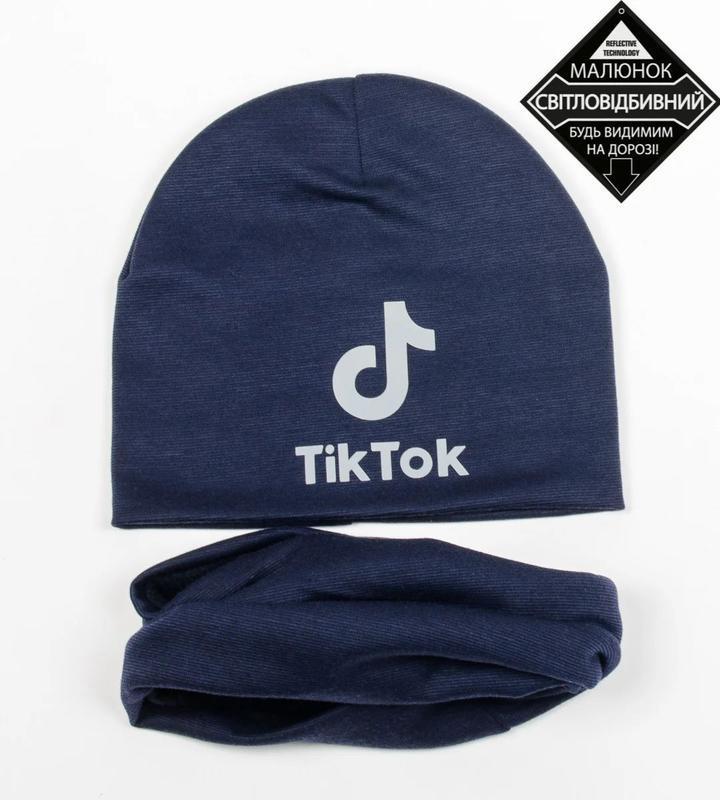 Комплект шапка и хомут, темно синий цвет, утепленный, принт св... - Фото 8
