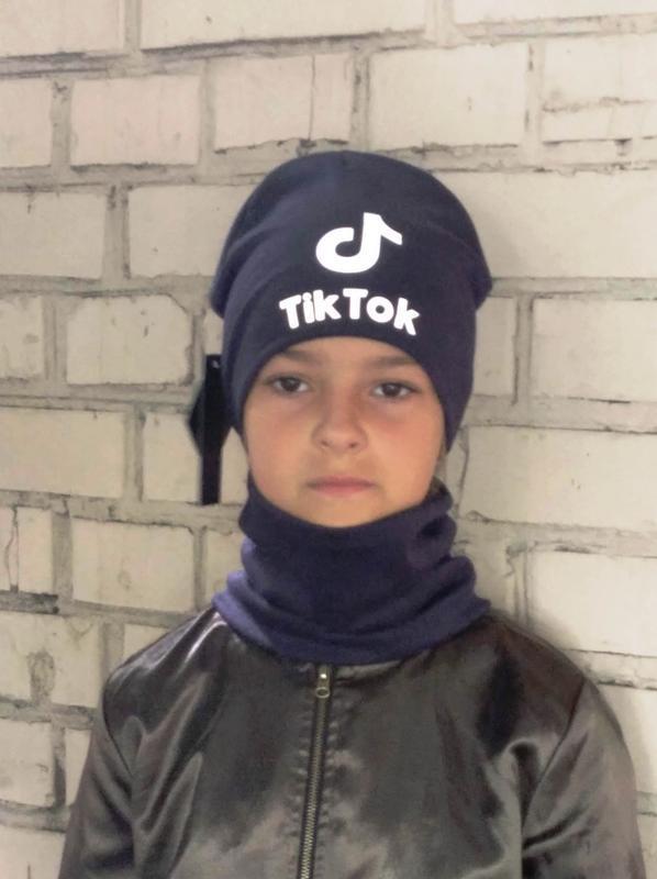 Комплект шапка и хомут, темно синий цвет, утепленный, принт св... - Фото 3