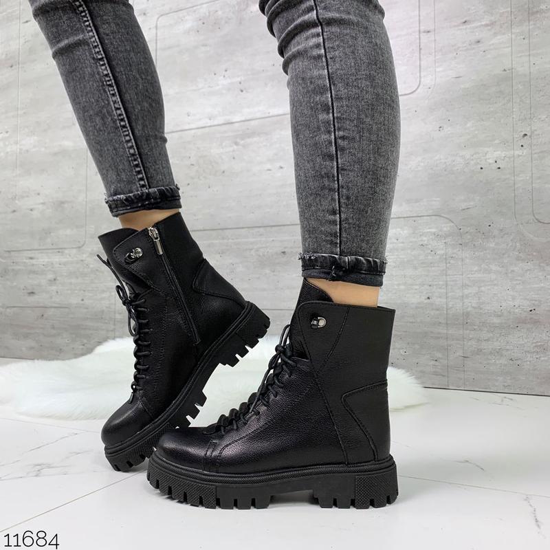 Чёрные кожаные ботинки на массивной подошве,демисезонные кожан... - Фото 3