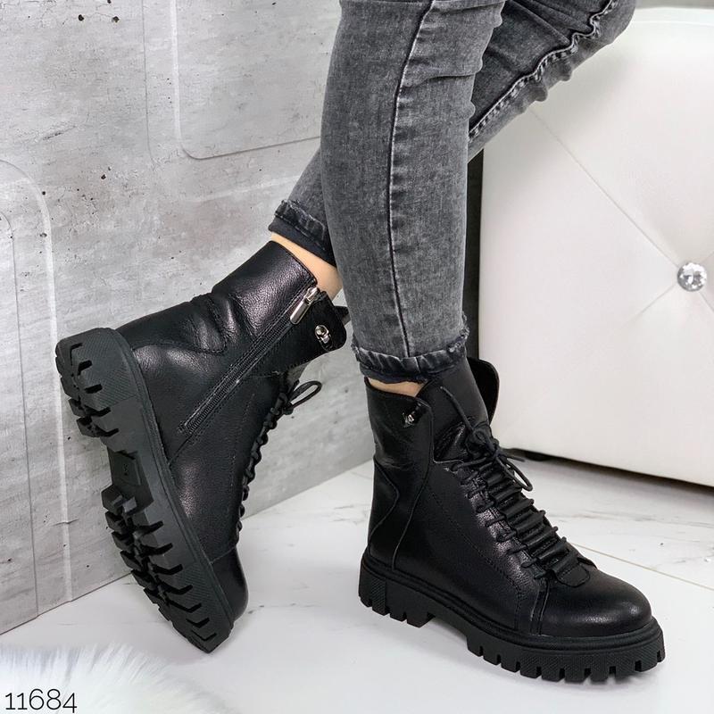 Чёрные кожаные ботинки на массивной подошве,демисезонные кожан... - Фото 5