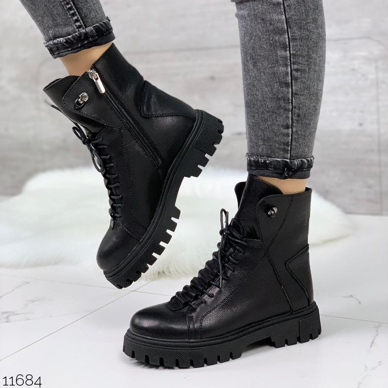 Чёрные кожаные ботинки на массивной подошве,демисезонные кожан... - Фото 6