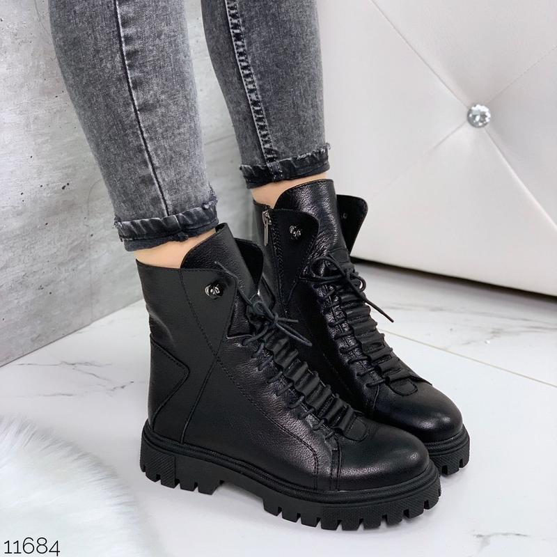 Чёрные кожаные ботинки на массивной подошве,демисезонные кожан... - Фото 7