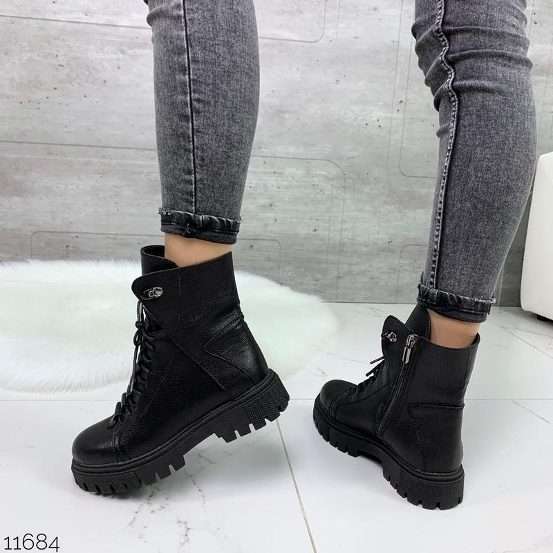 Чёрные кожаные ботинки на массивной подошве,демисезонные кожан... - Фото 8