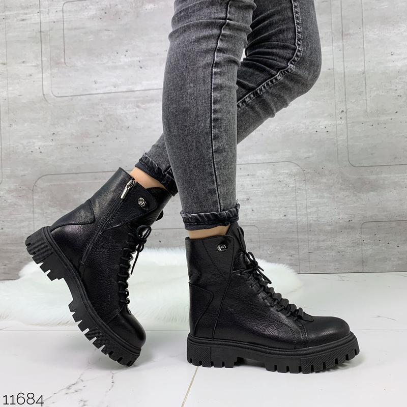 Чёрные кожаные ботинки на массивной подошве,демисезонные кожан... - Фото 9