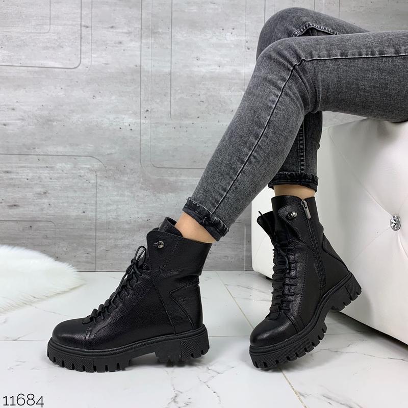 Чёрные кожаные ботинки на массивной подошве,демисезонные кожан... - Фото 10