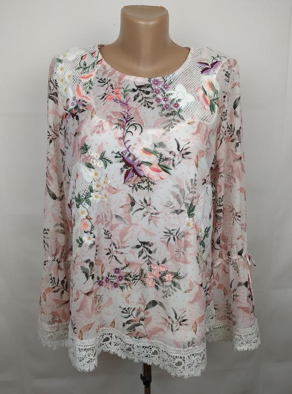 Блуза цветочная красивая нарядная кружево вышивка marks&spence...