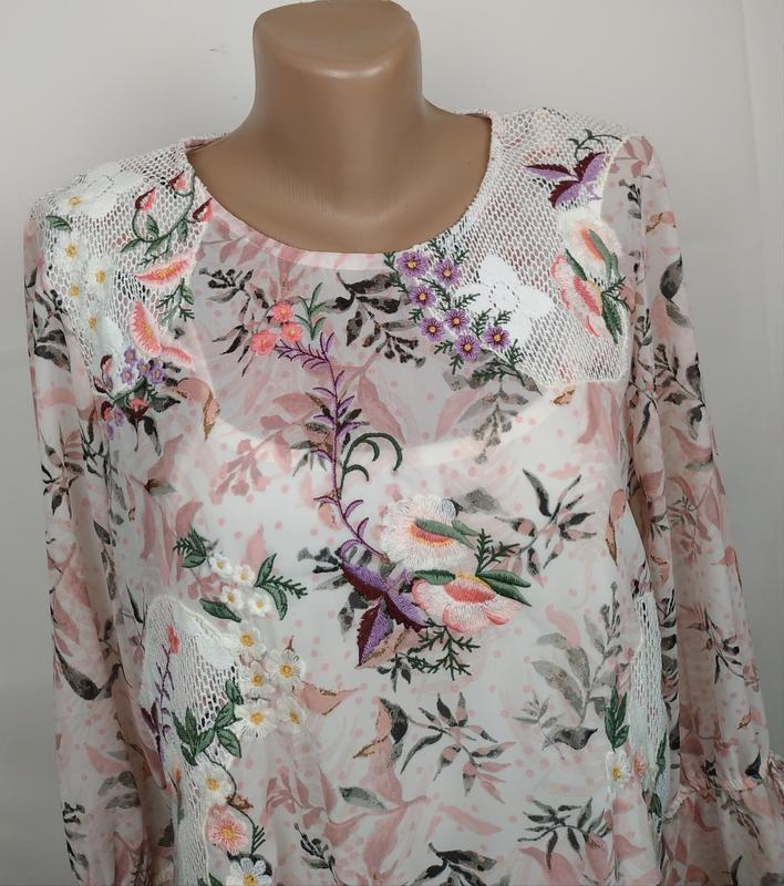 Блуза цветочная красивая нарядная кружево вышивка marks&spence... - Фото 2