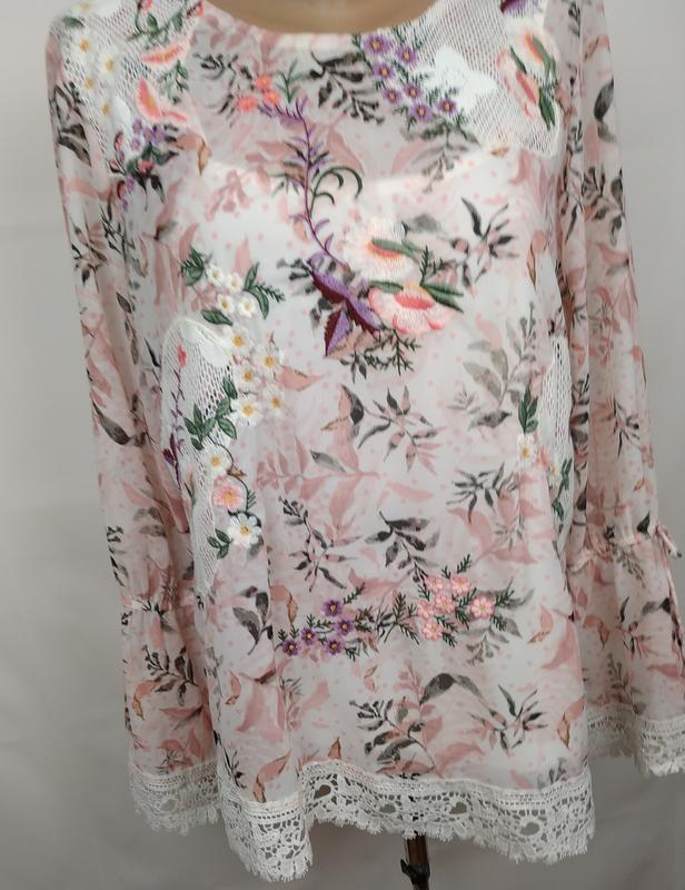 Блуза цветочная красивая нарядная кружево вышивка marks&spence... - Фото 3