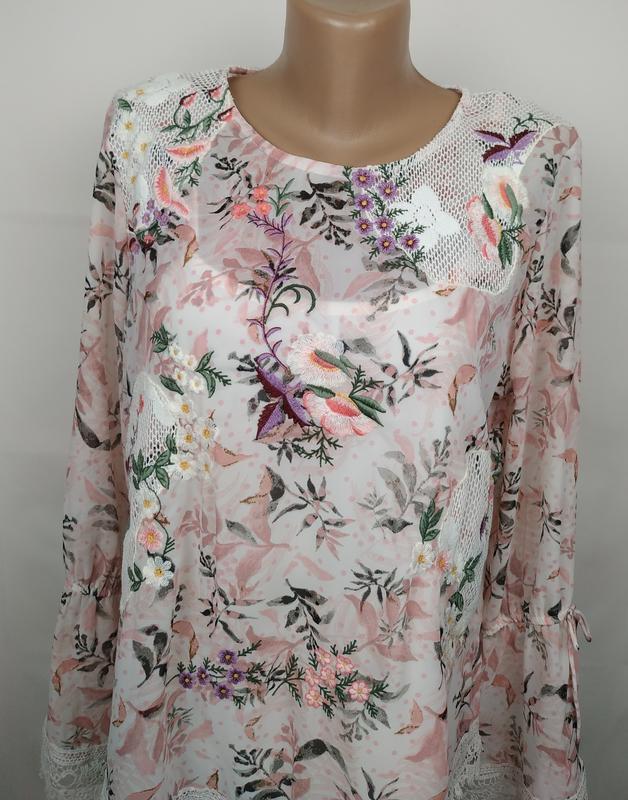Блуза цветочная красивая нарядная кружево вышивка marks&spence... - Фото 4