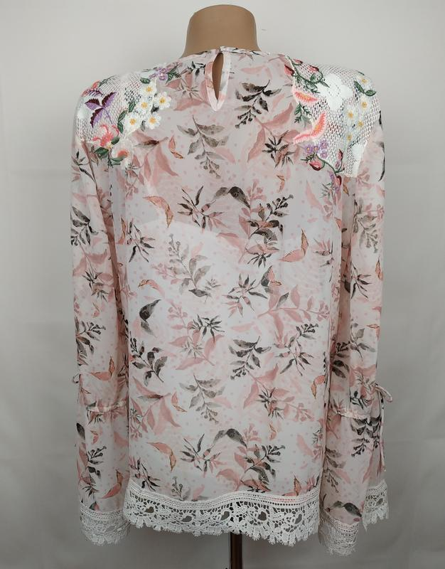Блуза цветочная красивая нарядная кружево вышивка marks&spence... - Фото 5