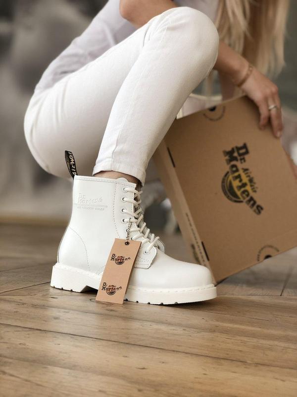 Dr. martens 1460 mono white женские кожаные осенние ботинки бе...