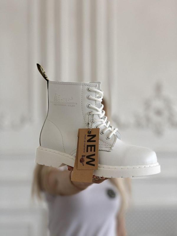 Dr. martens 1460 mono white женские кожаные осенние ботинки бе... - Фото 2