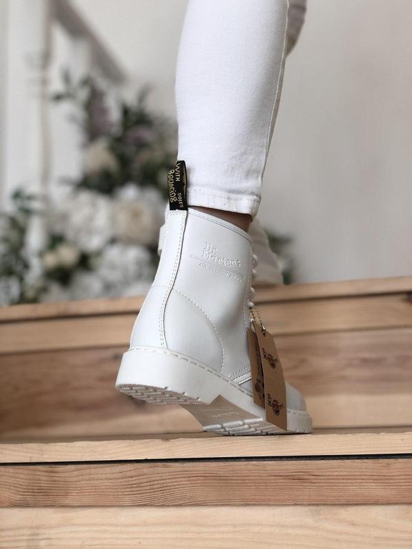 Dr. martens 1460 mono white женские кожаные осенние ботинки бе... - Фото 6