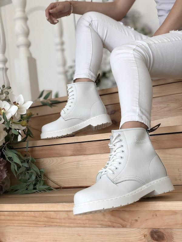 Dr. martens 1460 mono white женские кожаные осенние ботинки бе... - Фото 8