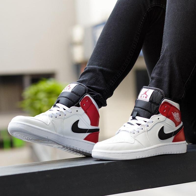 Шикарные женские кроссовки nike air jordan 1 mid white black g... - Фото 5