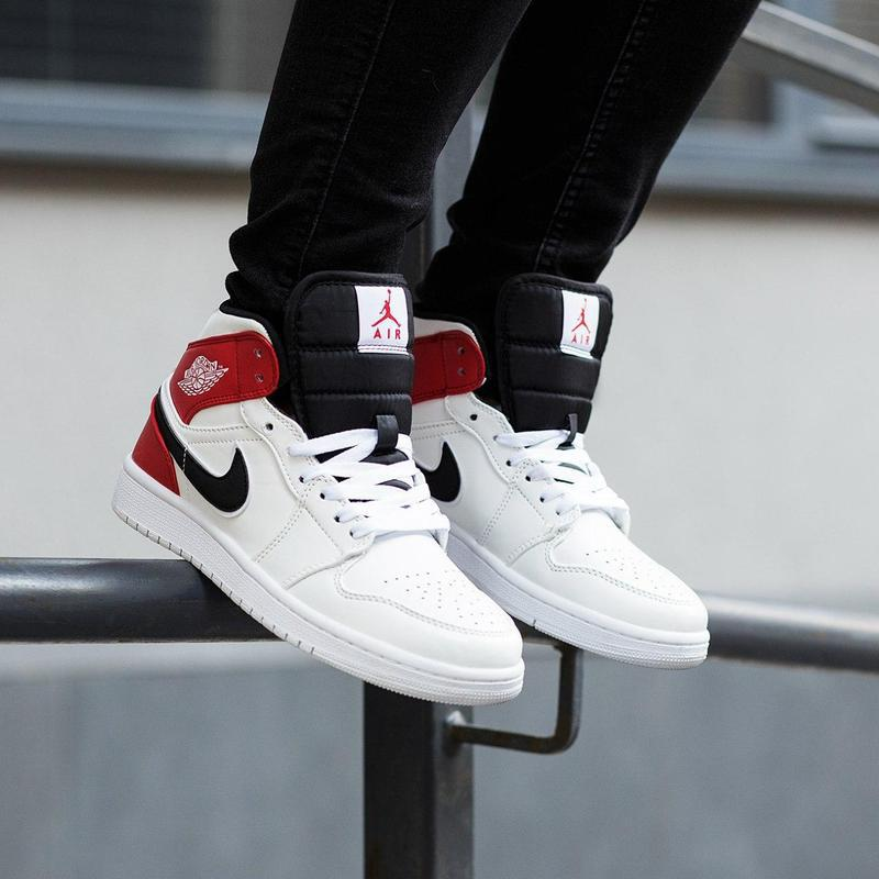 Шикарные женские кроссовки nike air jordan 1 mid white black g... - Фото 6