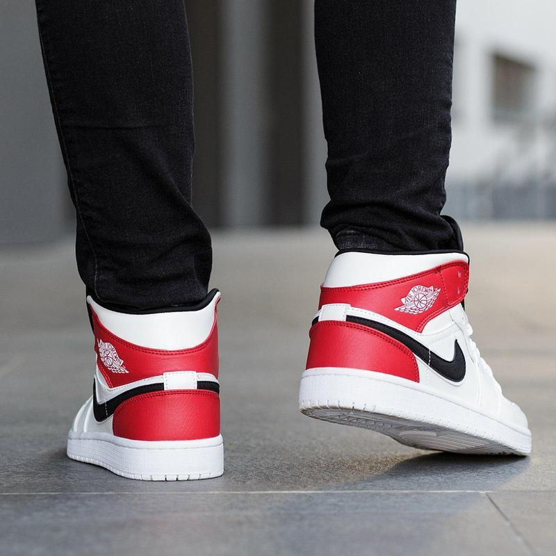 Шикарные женские кроссовки nike air jordan 1 mid white black g... - Фото 7