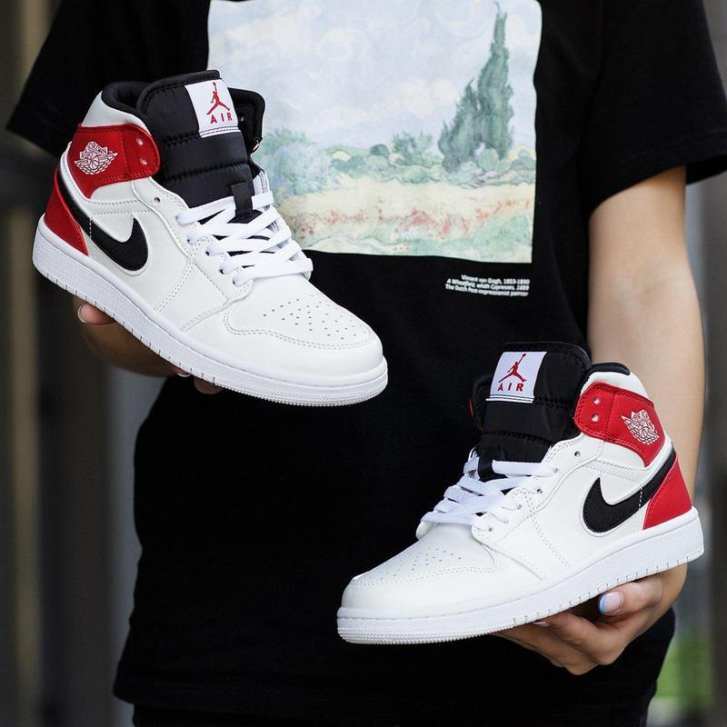 Шикарные женские кроссовки nike air jordan 1 mid white black g... - Фото 9