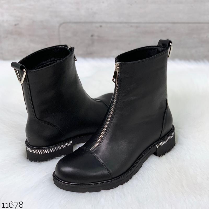 Чёрные кожаные ботинки на молнии спереди,демисезонные женские ...