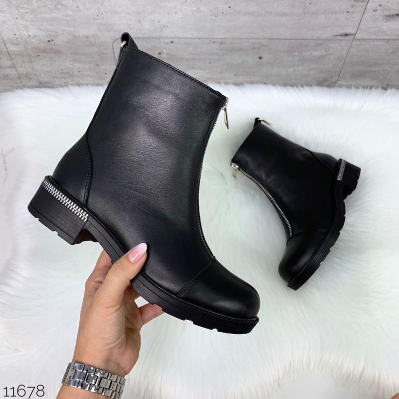 Чёрные кожаные ботинки на молнии спереди,демисезонные женские ... - Фото 3