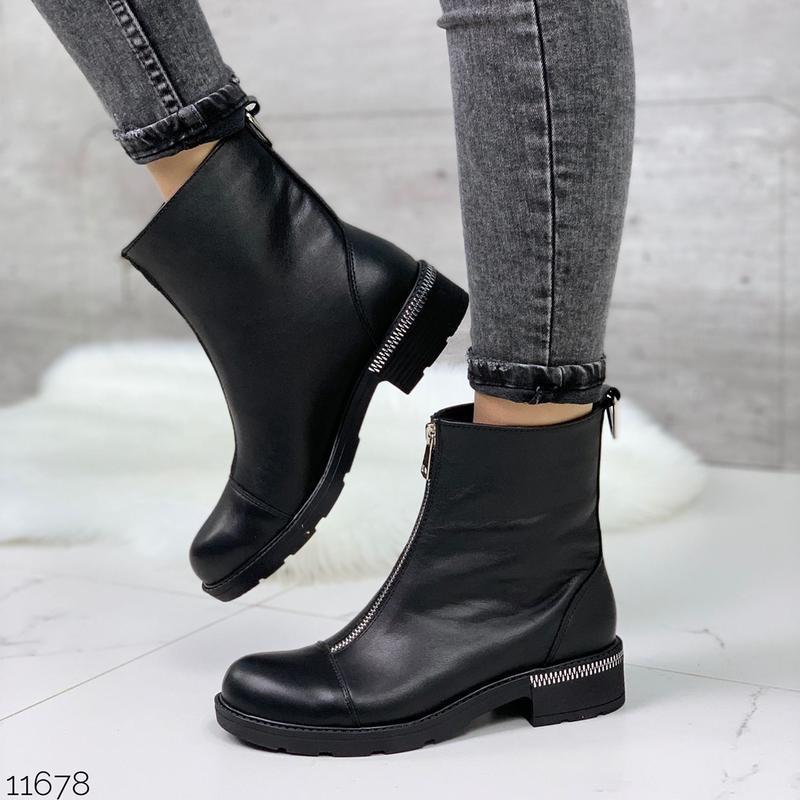 Чёрные кожаные ботинки на молнии спереди,демисезонные женские ... - Фото 4