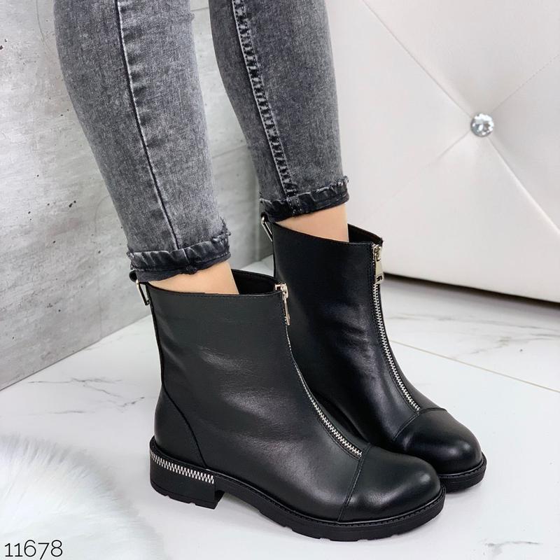 Чёрные кожаные ботинки на молнии спереди,демисезонные женские ... - Фото 5