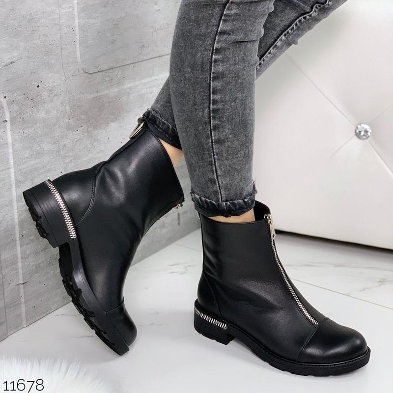 Чёрные кожаные ботинки на молнии спереди,демисезонные женские ... - Фото 6