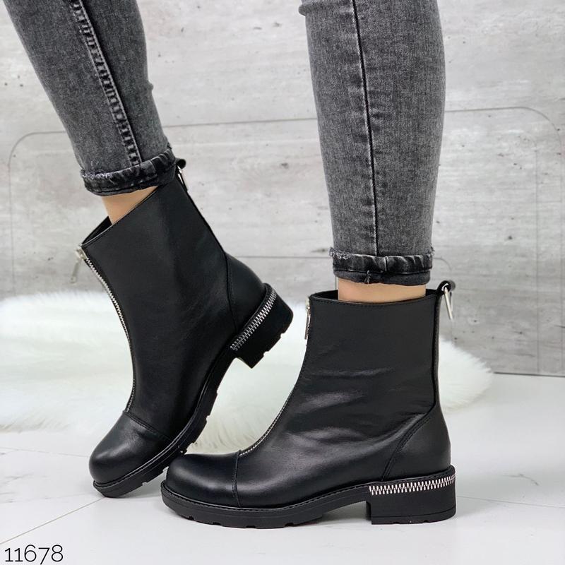 Чёрные кожаные ботинки на молнии спереди,демисезонные женские ... - Фото 7