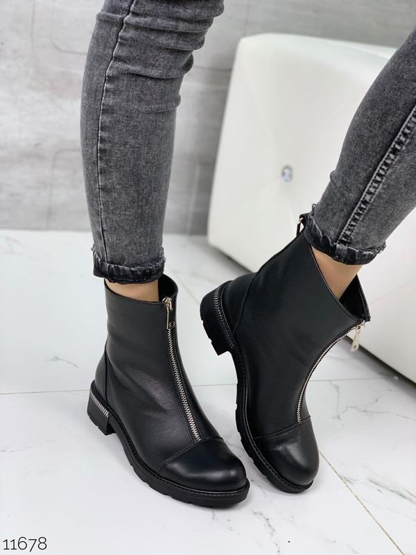 Чёрные кожаные ботинки на молнии спереди,демисезонные женские ... - Фото 8