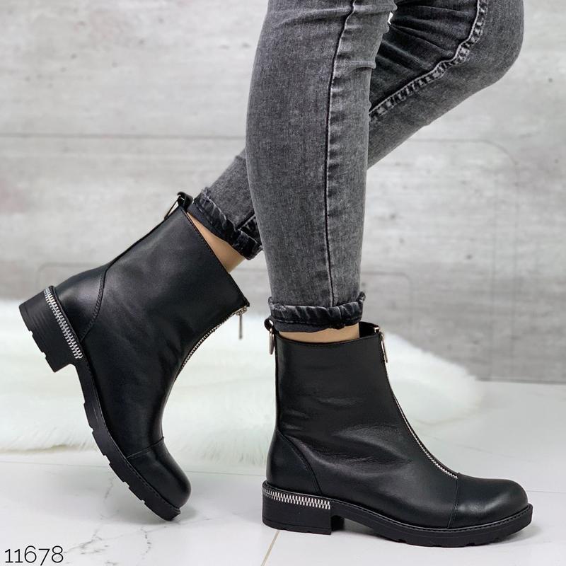 Чёрные кожаные ботинки на молнии спереди,демисезонные женские ... - Фото 9