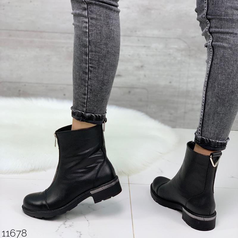 Чёрные кожаные ботинки на молнии спереди,демисезонные женские ... - Фото 10