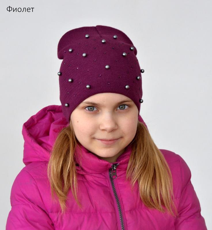 Двойная демисезонная шапка для девочки от 5 лет 52 54 55