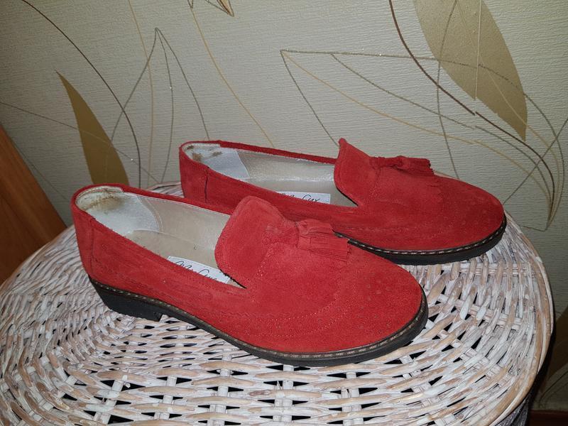Красные замшевые туфли лоферы