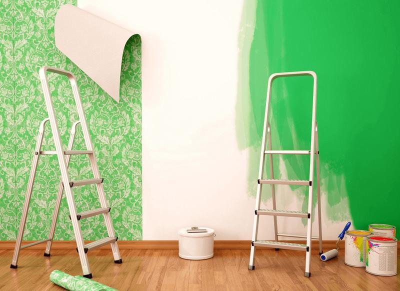 Покраска потолка, стен Поклейка обоев