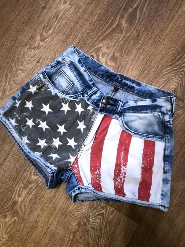 Стильные джинсовые шорты с завышенной талией и царапками  сша - Фото 2