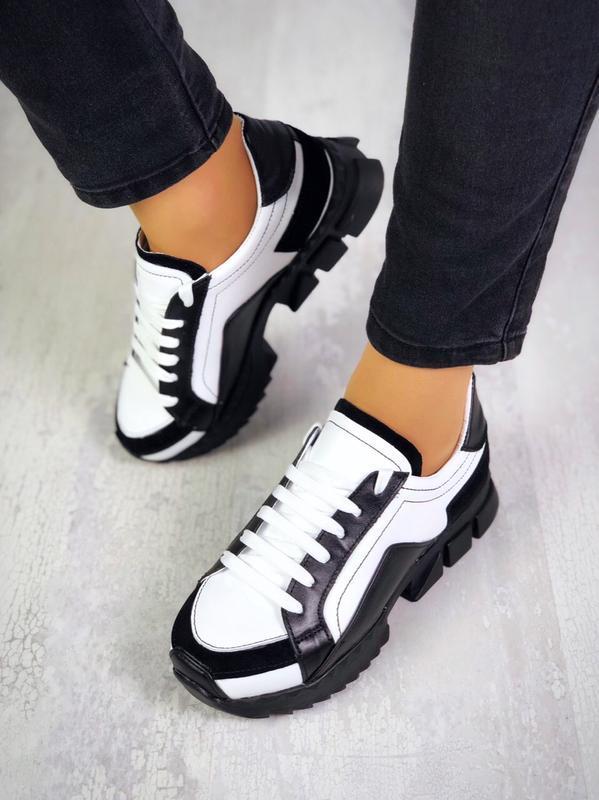 Натуральная кожа люксовые кроссовки на модной подошве эксклюзив