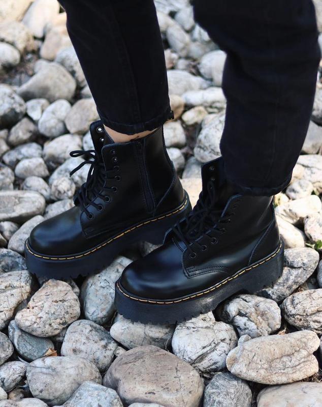 Ботинки dr. martens jadon black в черном цвете кожаные (36-40)????