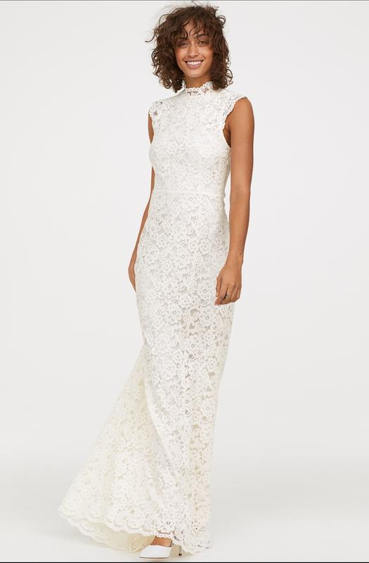 Шикарное свадебное, подвенечное кружевное платье h&m.
