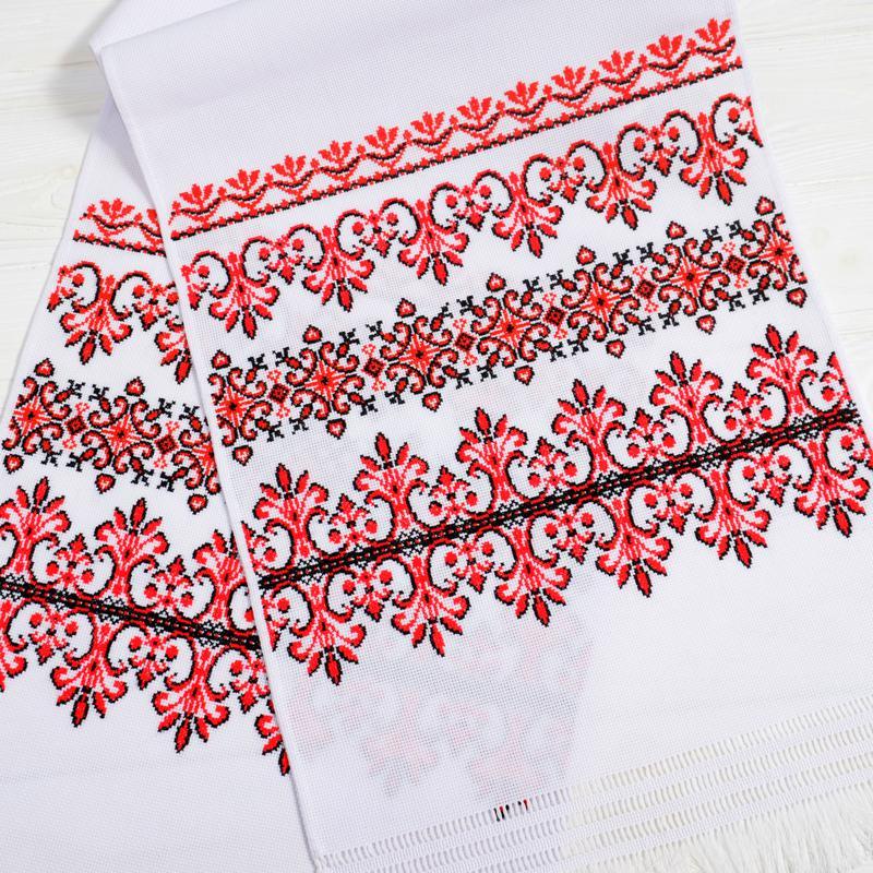 Рушники весільні вишиті, червоно-чорні