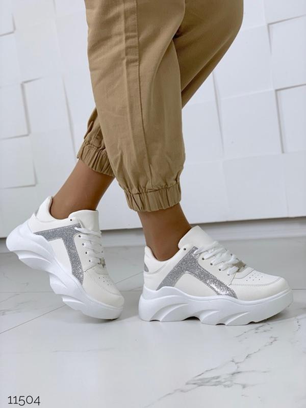 Массивные белые кроссовки на высокой подошве,стильные белые кр...
