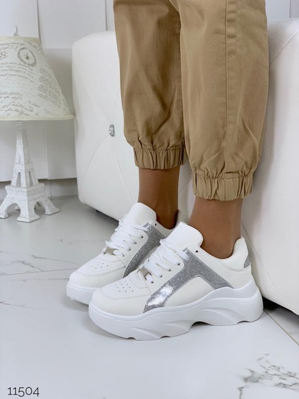 Массивные белые кроссовки на высокой подошве,стильные белые кр... - Фото 4